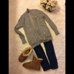 Express Silver Grey Open Front Sequin Cardigan